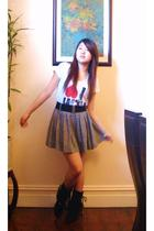 t-shirt - Forever 21 skirt - boots - tiffany&co