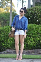 navy denim Sportsgirl shirt - mustard Witchery bag - white denim Wrangler shorts