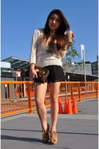 lace Topshop shorts - Sportsgirl sweater - alexa clutch Mulberry bag