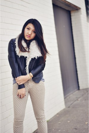 shearling stylestalker jacket - polka dot Current Elliot jeans