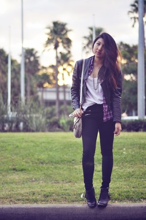 black leather jacket Saba jacket - black zoey triple zip J Brand jeans