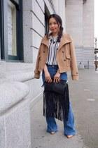 nude pumps Zara shoes - blue flare jeans Zara jeans - nude Zara jacket