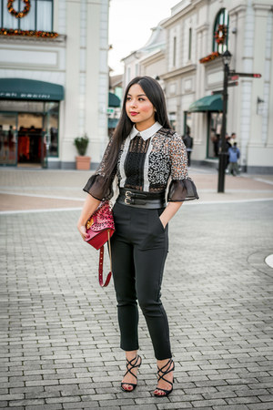 black shein jumper - ruby red Furla bag