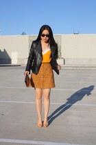 black leather studded Zara jacket - peach Michael Kors bag