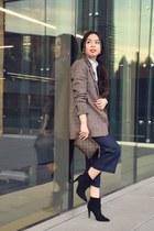 black Zara boots - dark brown Zara blazer - dark brown Louis Vuitton bag