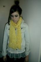 hollister jacket - scarf - vintage top - Express leggings