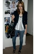 vintage blazer - vintage top - Bullhead jeans - Steve Madden shoes