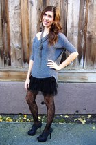 gray Express sweater - black Betsey Johnson tights - black Forever 21 skirt - ch