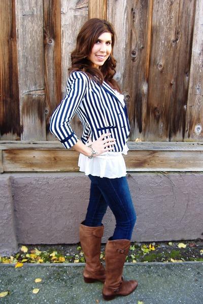 Pour La Victoire boots - Forever 21 jeans - H&M blazer - white Express blouse