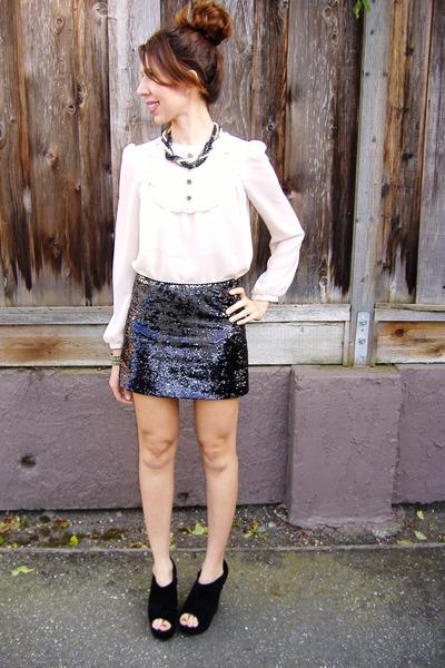 ivory asos blouse - black sequined Forever 21 skirt - black Steve Madden wedges