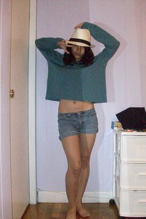 green eileen fisher sweater - blue shorts - white Spring hat