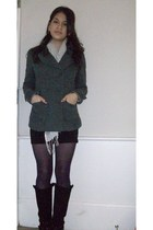 black H&M skirt - purple Forever 21 tights - black Spring boots - gray Forever 2