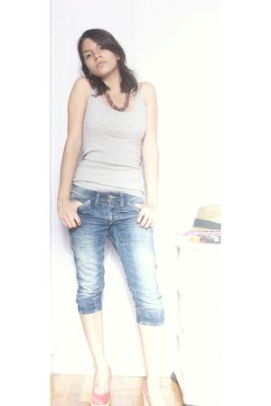 silver faded glory top - blue H&M jeans - pink shoes - pink So Good Jewelery nec