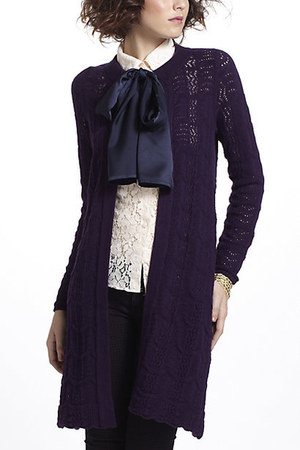 deep purple Anthropologie coat