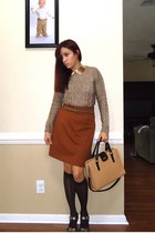 tawny Forever 21 skirt - tan JCrew bag - gold H&M necklace