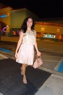 Nude-modcloth-sandals-beige-dress-light-pink-leather-guess-bag