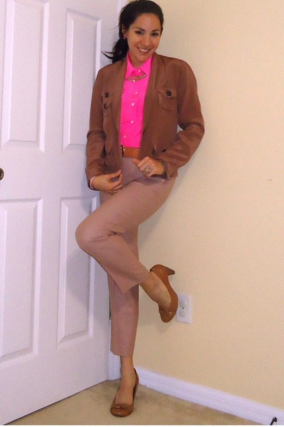 hot pink silk JCrew shirt - brown silk JCrew blazer
