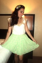 lime green Old Navy skirt - off white Victorias Secret top
