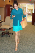 nude Dolce Vita wedges - turquoise blue rayon dress - teal silk shirt