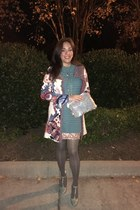 neutral Anthropologie cardigan - teal Anthropologie dress - nude H&M skirt