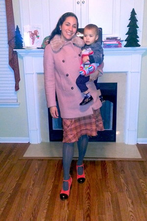 tawny Chie Mihara shoes - light pink fur trim Zara coat - charcoal gray tights