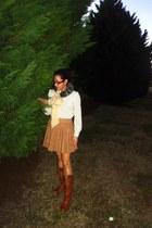 tan asos skirt - brown Jeffrey Campbell boots
