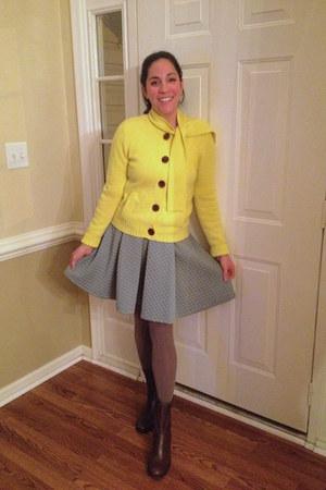 yellow Jcrew cardigan - dark brown BCBG boots - teal H&M skirt