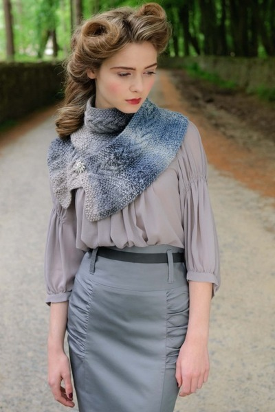 silver skirt - navy scarf - periwinkle blouse