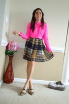 light brown Forever 21 skirt - hot pink Jcrew blouse