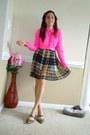 Hot-pink-jcrew-blouse-light-brown-forever-21-skirt