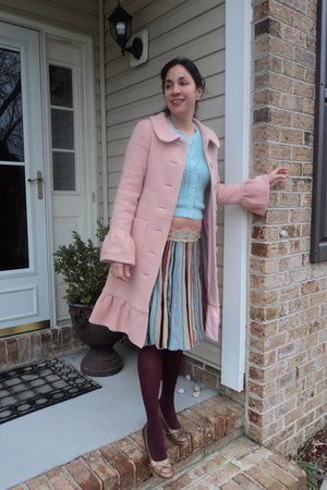 pink elevenses 2004 Anthropologie coat - bronze leather wedges Seychelles shoes