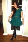 Navy-embellished-anthropologie-belt-forest-green-lace-h-m-dress
