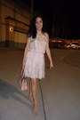 Beige-dress-light-pink-leather-guess-bag-beige-silk-cargo-skirt