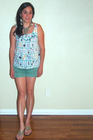 teal Anthropologie shorts - turquoise blue Anthropologie top