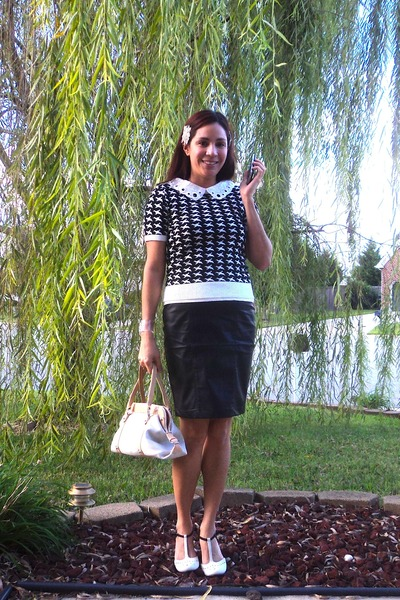 H&M top - Forever 21 sweater - Kimichi and Blue heels - Forever 21 skirt