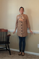tan Forever 21 coat - navy hm jeans - peach scarf - brown leopard Gap flats