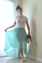 aquamarine Anthropologie skirt - white lace top - silver seychelles heels