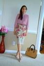 Tan-jcrew-bag-light-pink-heels-olive-green-velvet-diy-skirt