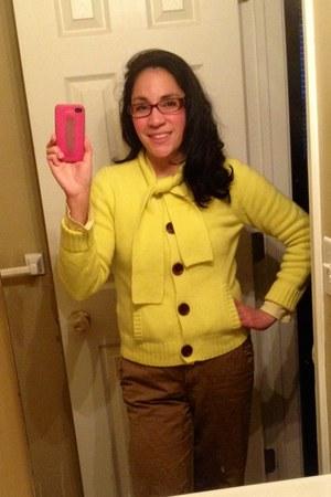 yellow Jcrew cardigan - brown Gap pants