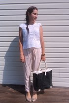 black bag - white Anthropologie blouse - light pink Zara pants