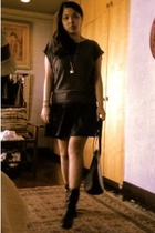 gray diy top - black glasnost shoes - black epi leather Louis Vuitton bag