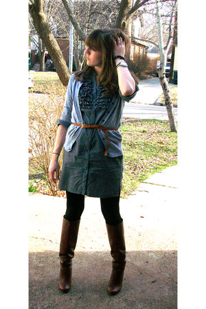 gray Old Navy cardigan - gray anne taylor loft dress - black TJ Maxxx leggings -