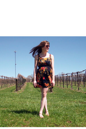 blue Target dress - beige payless shoes - brown Ralph Lauren sunglasses