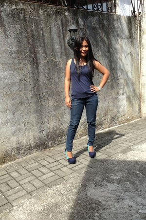 blue cotton Mia & Bailey New York blouse - denim bench jeans - Zalora pumps