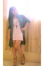White-dress-army-green-necklace-turquoise-blue-cardigan-camel-wedges