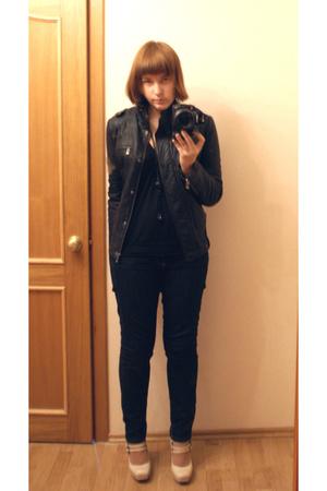 fishbone jacket - Topshop vest - Topshop shoes - necklace