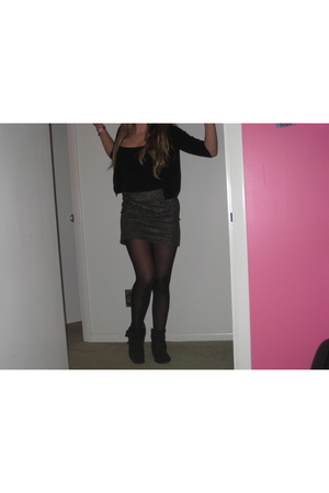 black Rampage boots - J Crew skirt - black Nordstrom cardigan