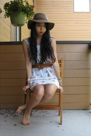 brown Urban Outfitters hat - white thrifted dress