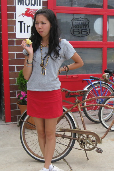American Apparel skirt - thrifted top - American Apparel necklace