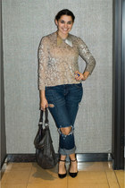 Mr Dannijo necklace - Current Elliott jeans - balenciaga bag - Zara wedges
